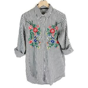 Walter Baker Striped Floral Embroidered Tunic
